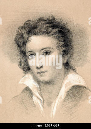Percy Shelley. Portrait of the English romantic poet, Percy Bysshe Shelley (1792-1822), lithograph by John Alfred Vintner from the original picture by George Clint. - Stock Photo