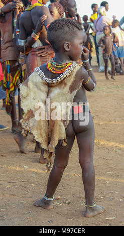 Young Hamer Tribe boy Photographed in Omo River Valley, Ethiopia, Africa - Stock Photo