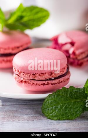 French raspberry macarons - Stock Photo
