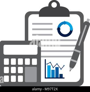 clipboard calculator pen business chart statistics elements - Stock Photo