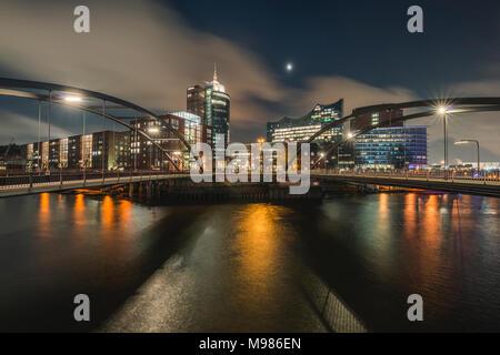 Germany, Hamburg, Hafencity, View from Vorsetzen to Elbe Philharmonic Hall - Stock Photo