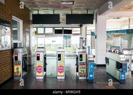 Seoul, Korea - April 10, 2017 : Eungbong Station subway gate - Stock Photo