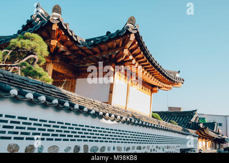 Korean traditional house in Bukchon Hanok village - Stock Photo