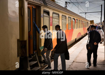 Mc263Morocco, transport, Kenitra station, passengers boarding ONCF Train, second Class compartment carriage - Stock Photo