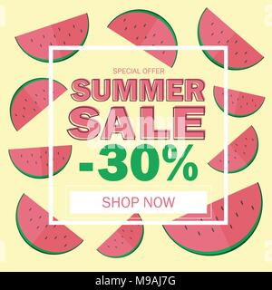 Summer sale banner with beautiful watermelon background - Stock Photo