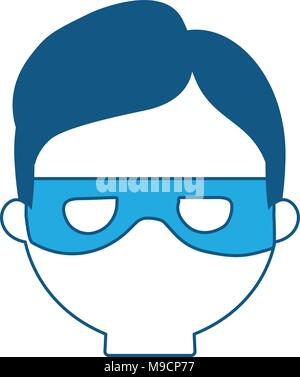 cartoon thief face icon over white background, blue shading design. vector illustration - Stock Photo
