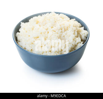 cooked rice in a bowl on white isolated background - Stock Photo