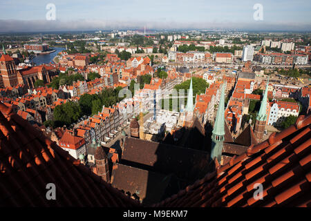 Old Town of Gdansk city in Poland, view from top of St. Mary's Church - Stock Photo