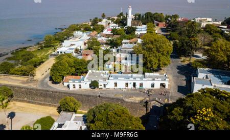Old town, El Faro, Old Lighthouse, Colonia del Sacramento, Uruguay - Stock Photo