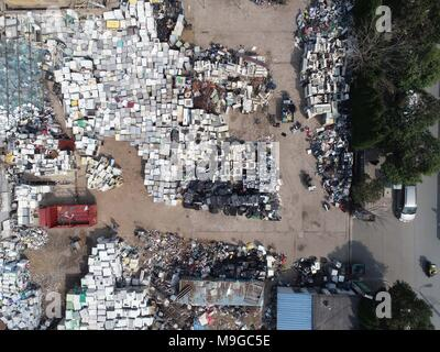 Huai'an, China. 25th Mar, 2018. Aerial photography of the electronic waste (e-waste) recycling site in Huai'an, east China's Jiangsu Province. Credit: SIPA Asia/ZUMA Wire/Alamy Live News - Stock Photo
