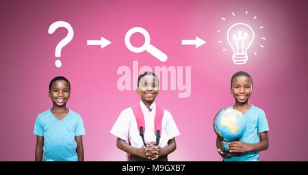 School boy thinking in sequence with ideas and brainstorm process icons - Stock Photo