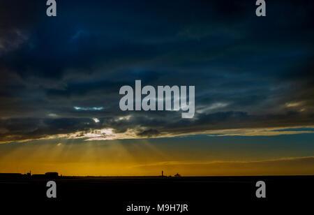 sunsett on dunkirk beach, dunkerque france sunset - Stock Photo