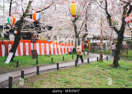 Kyoto, Japan - April 4, 2016 : Hirano Shrine cherry blossom festival - Stock Photo