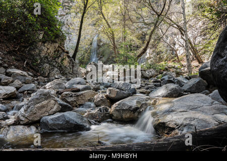 Sturtevant Falls and Santa Anita Canyon in the San Gabriel Mountains above Los Angeles and Pasadena California. - Stock Photo