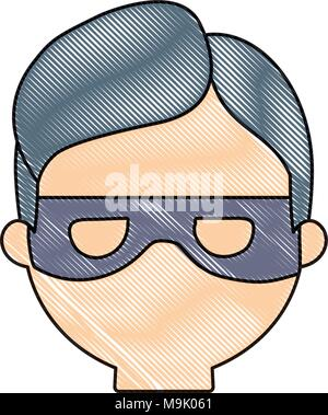 cartoon thief face icon over white background, colorful design. vector illustration - Stock Photo
