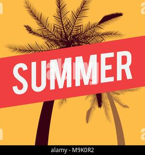 Summer sale design with tropical palm and yellow background, colorful design vector illustration - Stock Photo