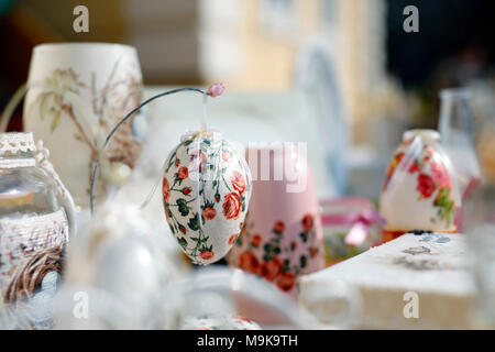 Decoupage technique. VIntage style. Shabby chic wooden boxes, glass jar and Easter egg. - Stock Photo