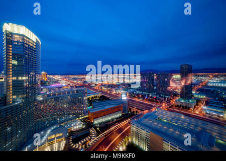 Aria Resort and Casiono viewed at dawn from 38th floor of the Vdara, Las Vegas, U.S.A. - Stock Photo