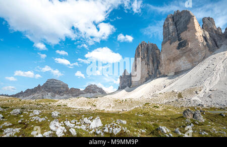 Northern walls of the Three Peaks of Lavaredo of Lavaredo, Sexten Dolomites, South Tyrol, Trentino-South Tyrol, Alto-Adige - Stock Photo