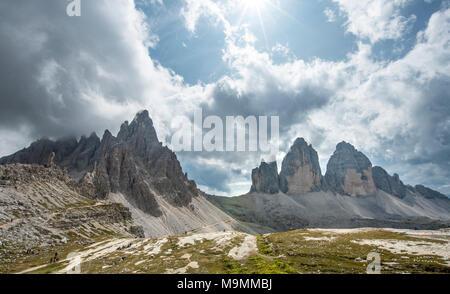 Patternkofel and northern walls of the Three Peaks of Lavaredo, Sexten Dolomites, South Tyrol, Trentino-South Tyrol, Alto-Adige - Stock Photo