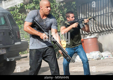FAST AND FURIOUS 5 (aka Fast Five) 2011 Universal Pictures film with Vin Diesel at left and Paul Walker - Stock Photo