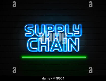 Supply Chain neon sign - Glowing Neon Sign on brickwall wall - 3D rendered royalty free stock illustration. - Stock Photo