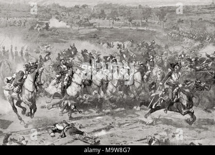 A charge of French Cuirassiers during the Franco-Prussian War of 1870.  From Hutchinson's History of the Nations, published 1915 - Stock Photo
