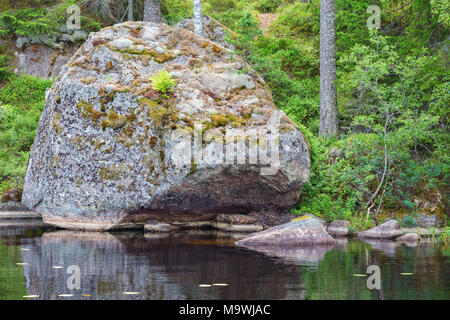 Glacial erratic rock located on a beach - Stock Photo