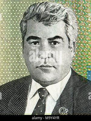 Saparmurat Niyazov portrait from ten thousand turkmenistan manats banknote - Stock Photo