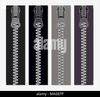 Set of zippers for clothes, vector illustration of zippers in gray colors, realistic, closeup - Stock Photo