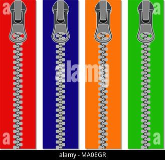 Set of colored zippers for clothes, vector illustration of zippers, realistic - Stock Photo
