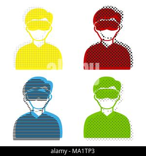 Man with sleeping mask sign. Vector. Yellow, red, blue, green icons with their black texture at white background. - Stock Photo