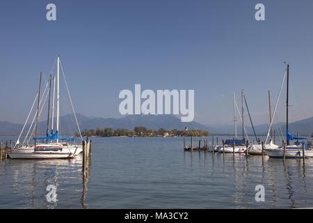 Island Frauenchiemsee in the lake Chiemsee, Chiemgau, Gstadt, Upper Bavaria, Bavaria, South Germany, Germany, - Stock Photo