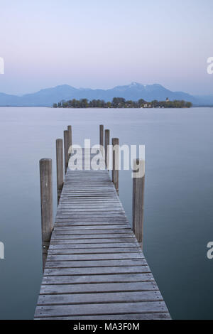 View to the Fraueninsel, Chiemsee, Chiemgau, Gstadt, Upper Bavaria, Bavaria, South Germany, Germany, - Stock Photo