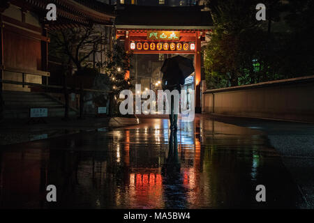 Asia, Japan, Nihon, Nippon, Tokyo, Taito, Asakusa, people with umbrella walks in the rain - Stock Photo