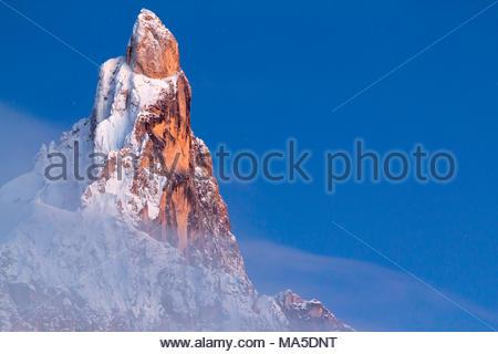 Cimon della Pala peak, mountain group Pale di San Martino, Passo Rolle, Trentino, Dolomites, Italy - Stock Photo