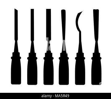 Black silhouettes. Set of different chisels. Vector illustration isolated on white background. Web site page and mobile app design. - Stock Photo