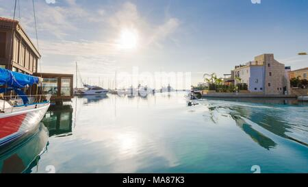 Beautiful Marina in Limassol city Cyprus. A modern, high end life and newly developed port with docked yachts, restaurants, shops, a landmark for wate - Stock Photo