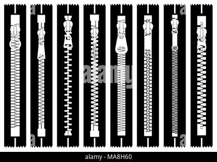 Illustration of different zippers isolated on white - Stock Photo