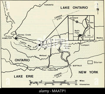 . Early Llandovery crinoids and stelleroids from the Cataract Group (Lower Silurian) in southern Ontario, Canada . Text-fig. 1 Locality map of southwestern Ontario and western New York State showing occurrences (x) of echinoderms in the Cataract Group. Twelve Mile Creek. Brower (1966) described Calceocri- nus pustulosus from the Manitoulin Formation at Stoney Creek. Brett (1978a) described Ptychocrinus medinensis from the lower Medina Group in the Niagara Gorge near Lewiston in New York State. Materials and Methods A complete section of the Cabot Head Formation is exposed in the gorge below th - Stock Photo