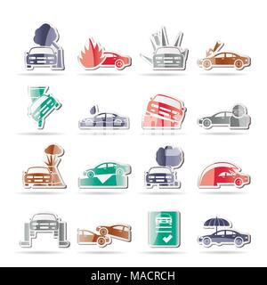car and transportation insurance and risk icons - vector icon set - Stock Photo