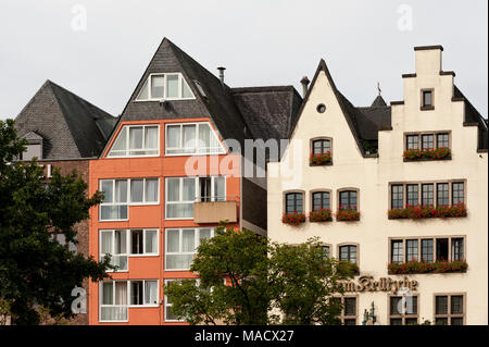 Colorful houses in Bavarian style in the old town of Cologne, North Rhine-Westphalia - Germany - Stock Photo