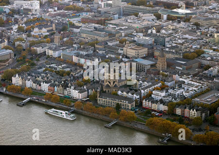 Aerial view, Old Town Cologne with Great St. Martin Church and Cologne Town Hall Tower, Cologne, Rhineland, Cologne Bay, North Rhine-Westphalia, Germa - Stock Photo