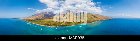 An aerial view of West Maui off Ukumehame Beach Park, Hawaii, USA. - Stock Photo