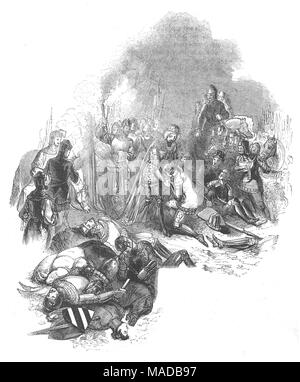 The Battle of Crécy aka, the Battle of Cressy, was fought on 26 August 1346 near Crécy, in northern France. It was an English victory during the Edwardian phase of the Hundred Years' War when an army of English, Welsh, and allied mercenary troops led by Edward III of England, engaged and defeated a much larger army of French, Genoese and Majorcan troops led by Philip VI of France. With the later battles of Poitiers in 1356, and Agincourt in 1415, it was the first of three famous English successes during the conflict. - Stock Photo