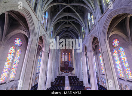 San Francisco, California - March 30, 2018: Interior of Grace Cathedral Church as seen from the 2nd floor. - Stock Photo