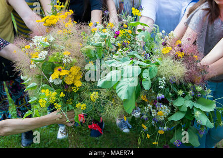 Bouquets of healing herbs and flowers in the hands of women. - Stock Photo