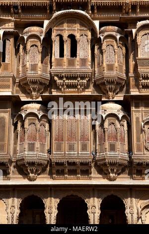 Facade of the old Patwa-Ki haveli in Jaisalmer, Rajasthan, North India - Stock Photo