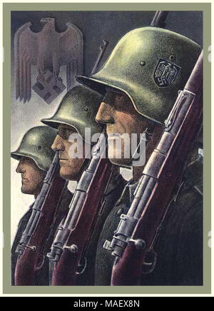Vintage 1940's Nazi Germany WW2 Propaganda Wehrmacht Army Soldier Military Recruitment Poster - Stock Photo