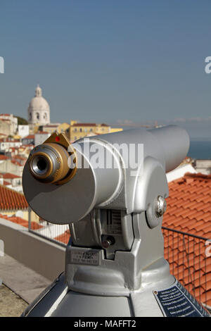 View point over the city of Lisbon, Portugal, on a sunny day - Stock Photo